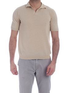 Ballantyne - Single button polo in beige