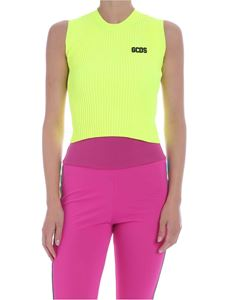 GCDS - Ribbed top in neon yellow