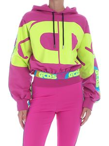 GCDS - Branded hoodie in fuchsia and yellow