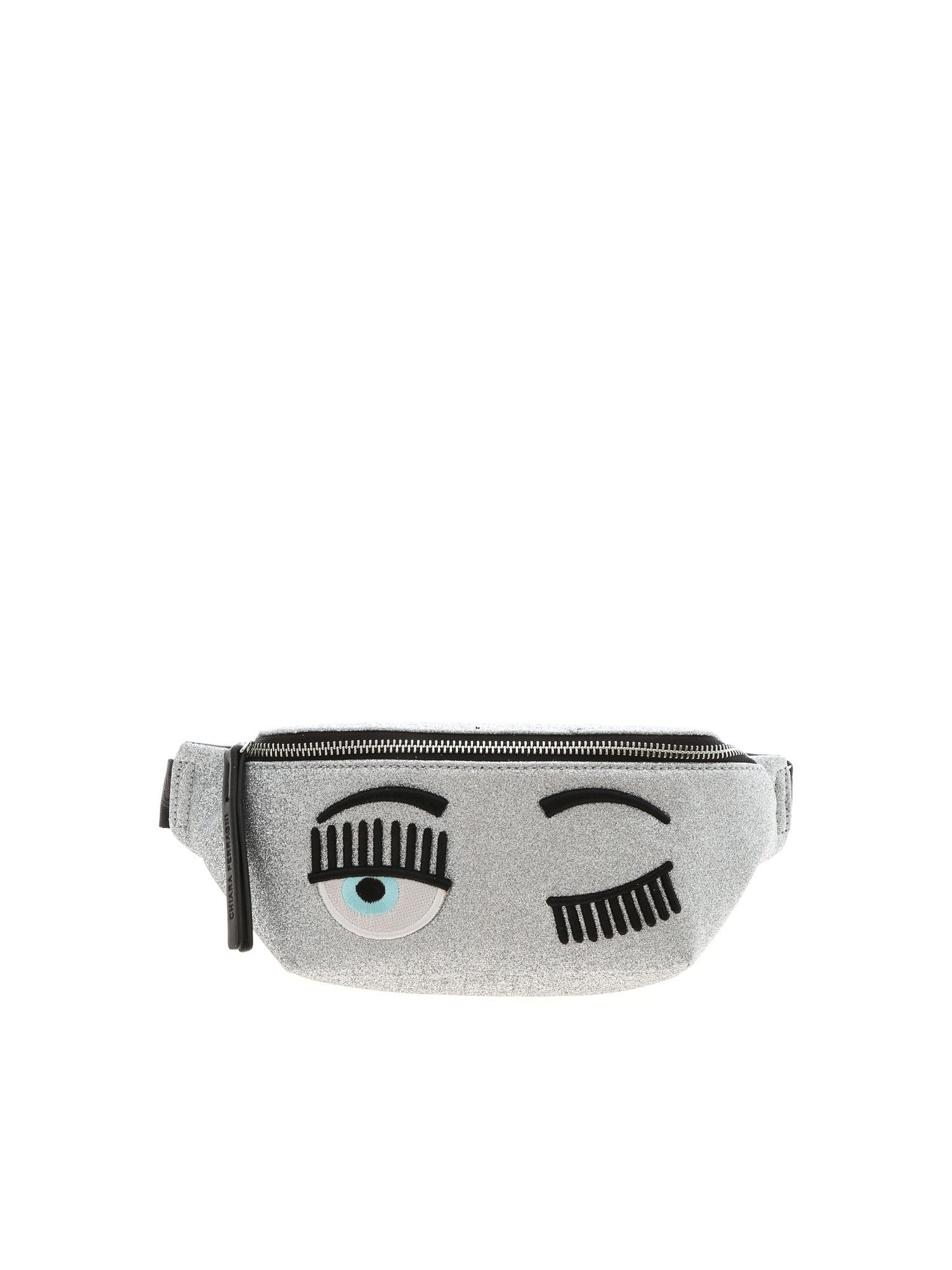 Chiara Ferragni FLIRTING BELT BAG IN SILVER COLOR