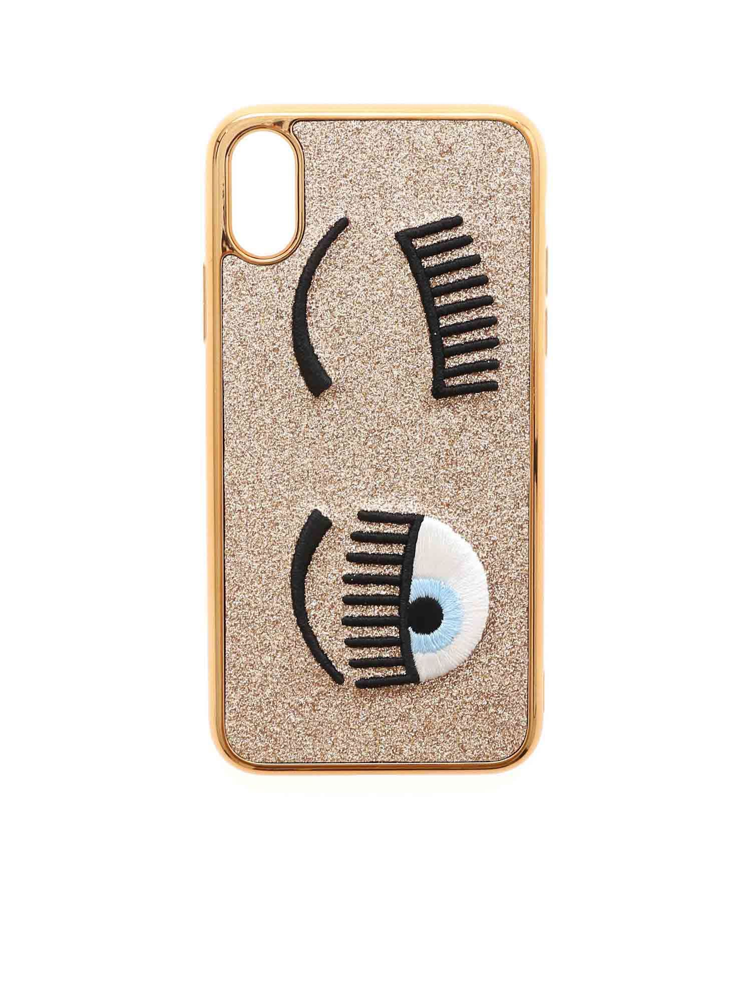 Chiara Ferragni FLIRTING I-PHONE X / XS COVER IN GOLD COLOR
