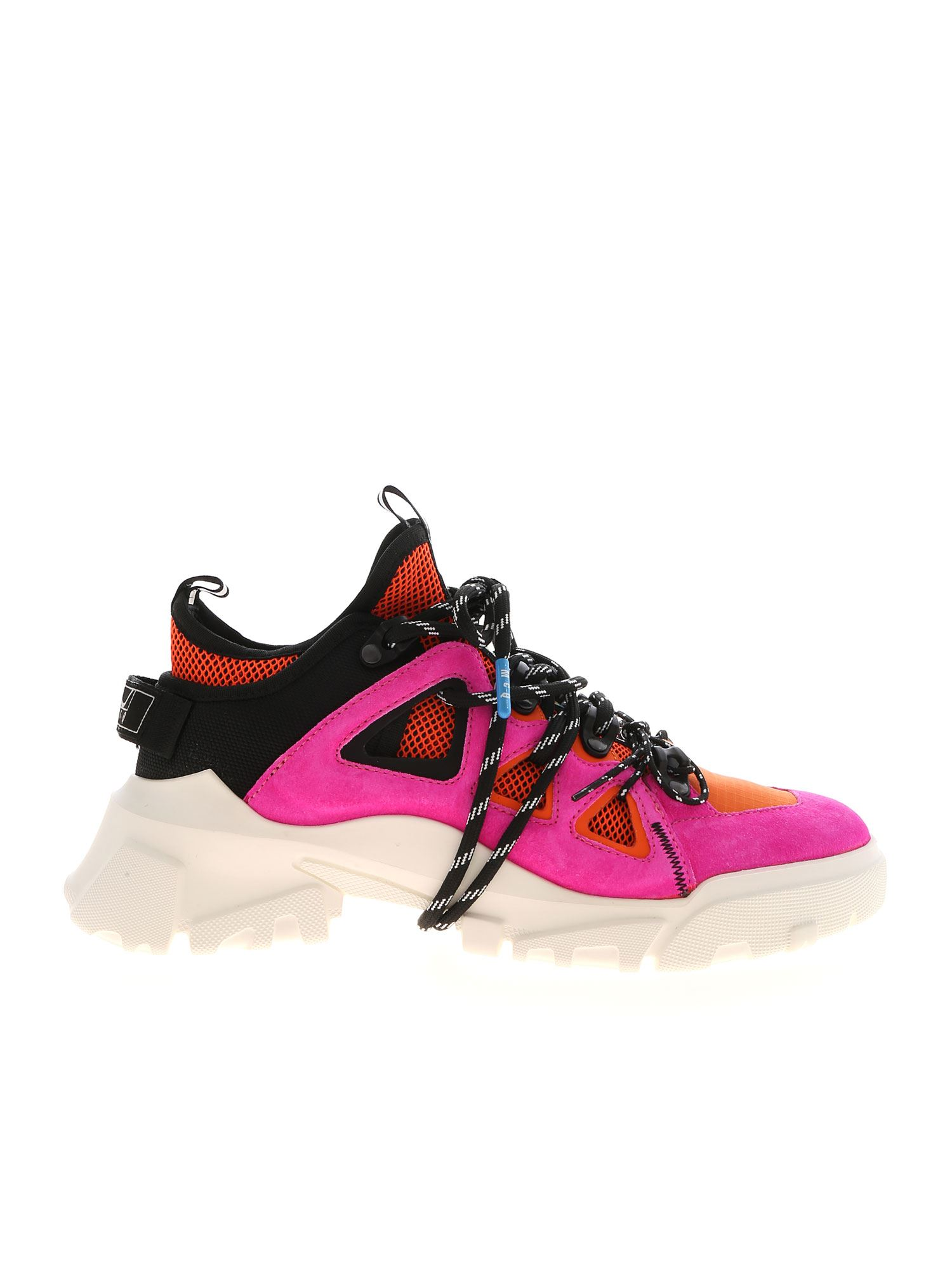 Mcq By Alexander Mcqueen ORBYT MID SNEAKERS IN FUCHSIA AND ORANGE
