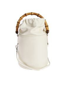 Jil Sander - Small bucket bag in white whit bamboo handle