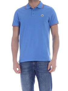 Moncler - Logo patch polo shirt in light blue