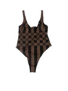 Fendi - Vichy Pequin one-piece swimsuit in brown