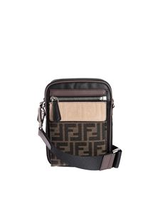 Fendi - Medium messenger bag in black with brown FF