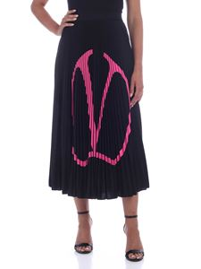 Valentino - VLogo pleated skirt in black