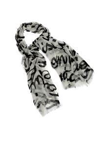 Elisabetta Franchi - Logo scarf in Burro color and black