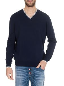 Fay - White details V pullover in blue