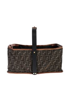 Fendi - Basket bag FF jacquard in brown