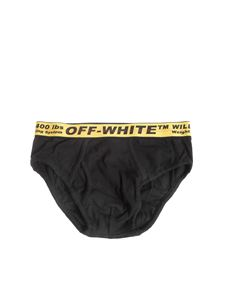 Off-White - Slip nero con banda Industrial