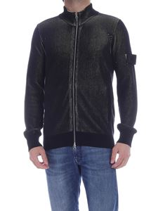 Stone Island - Ribbed cardigan in black and green