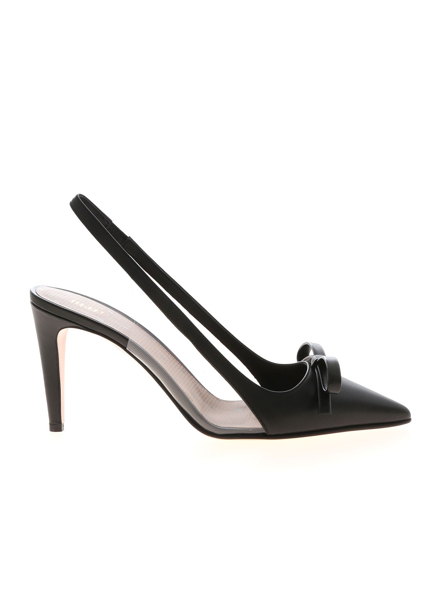 Red Valentino POINTED SLINGBACKS IN BLACK LEATHER WITH BOW
