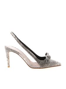 Red Valentino - Reptile print slingbacks in black and white