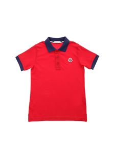 Moncler Jr - Logo patch polo shirt in red