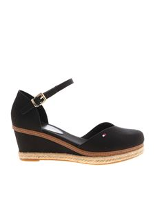 Tommy Hilfiger - Wedges with leather insert in black