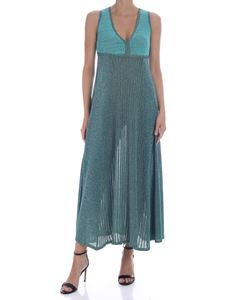 Pinko - Long dress Thira in lamè green