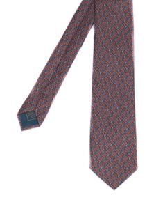 Brioni - Patterned silk tie in red and blue