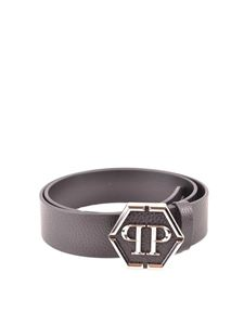 Philipp Plein - Hexagonal logo grainy leather belt in black