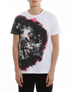Alexander McQueen - Ink flower cotton T-shirt in white