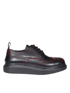 Alexander McQueen - Brogue detail black leather derby shoes