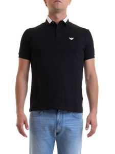 Emporio Armani - Two-tone collar black polo