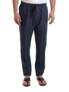 Emporio Armani - Linen blue pants with drawstring