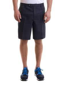 Emporio Armani - Contrasting piping bermuda in blue