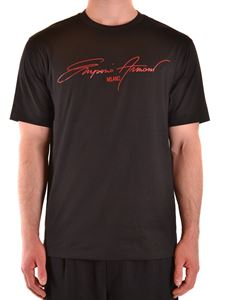 Emporio Armani - Signature print T-shirt in black