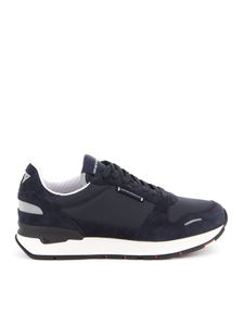 Emporio Armani - Suede and tech fabric sneakers in blue