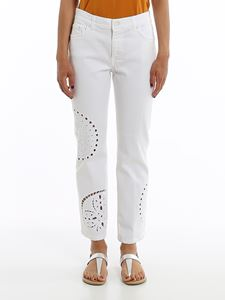 Dondup - Paige Custom white embroidered jeans