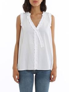Dondup - Draped V-neck top in white cotton