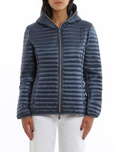 Save the duck - Water repellent blue hooded padded jacket