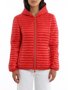 Save the duck - Water repellent red hooded padded jacket