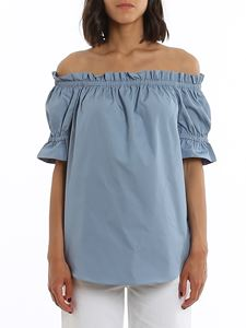 Michael Kors - Poplin off the shoulder top in light blue
