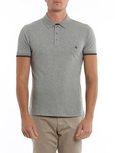 Fay - Logo lettering embroidery piqué polo in grey