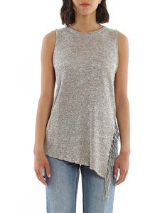 Dondup - Lamé knitted top in beige