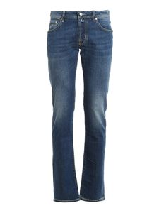 Jacob Cohën - Style 622 jeans in blue with calf hair patch
