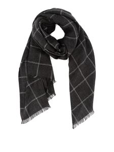 Corneliani - Checked silk and cashmere scarf in grey