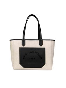Karl Lagerfeld - Canvas shopping bag in ivory color