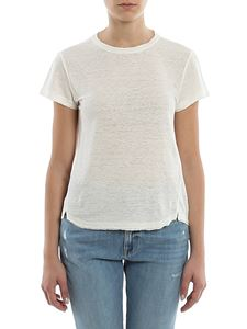 Frame - Melange linen T-shirt in white