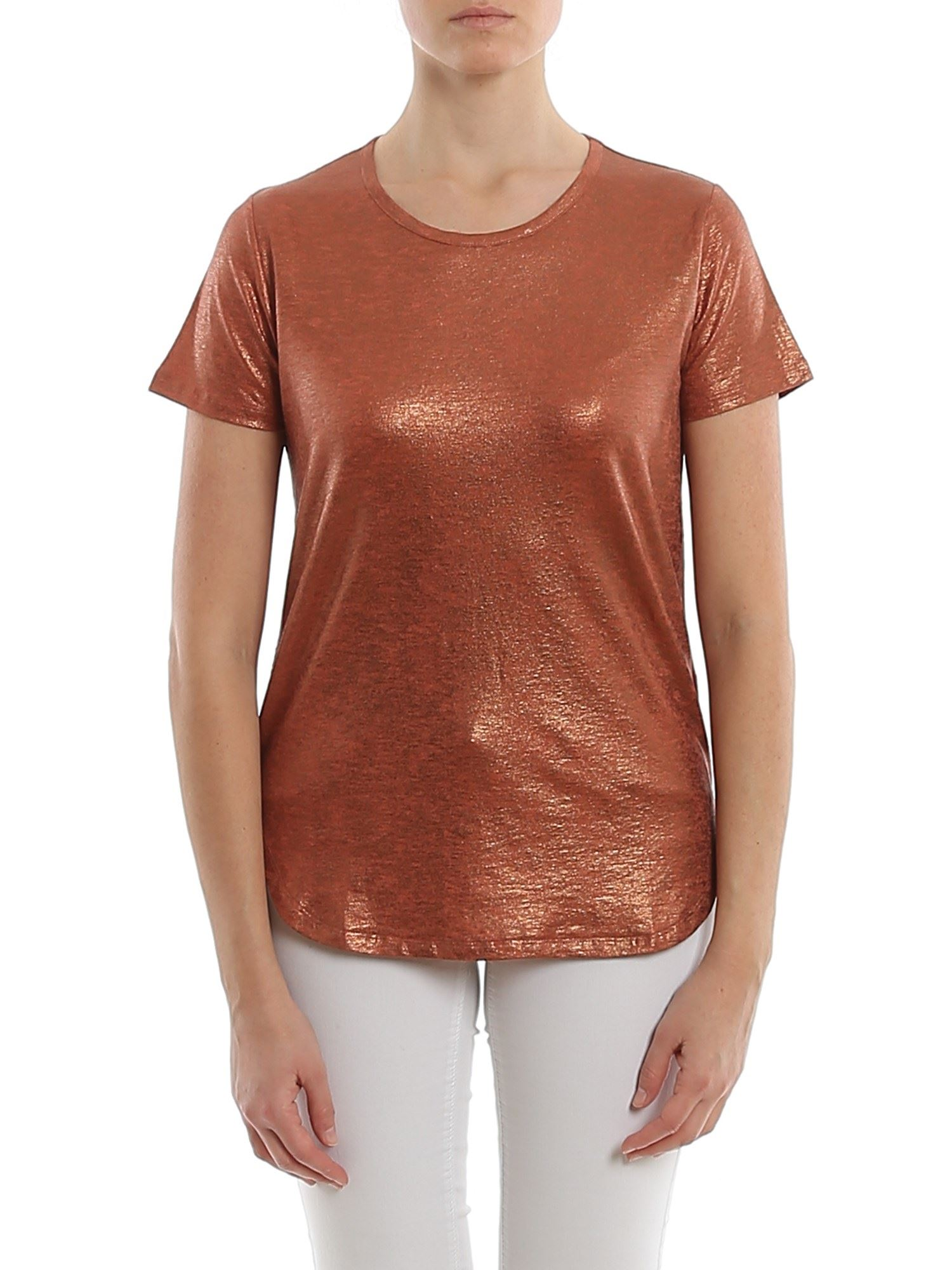 Majestic MAJESTIC FILATURES LAMINATED LINEN T-SHIRT IN ORANGE