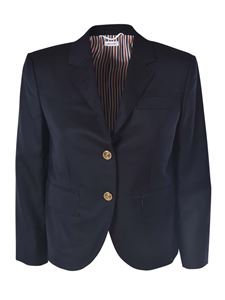 Thom Browne - Wool blazer in blue with striped lining