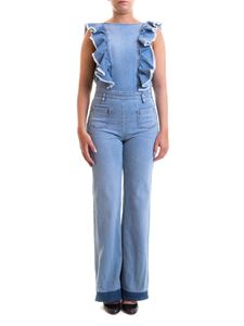 Red Valentino - Frilled denim jumpsuit