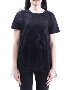 Red Valentino - Jersey tulle and lace T-shirt
