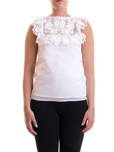 Red Valentino - Macramé panelled poplin top