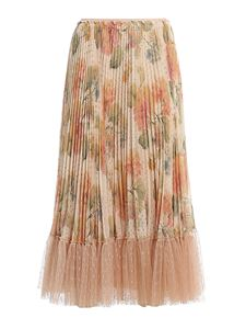 Red Valentino - Tulle ruffle pleated floral skirt