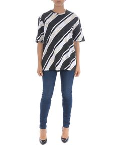Moschino - Diagonal stripes t-shirt in black and white