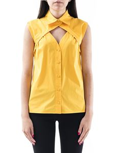 Moschino - Cut out detail sleeveless shirt in yellow