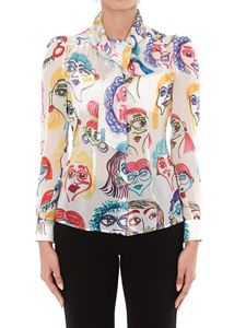 Moschino - Faces print silk shirt in multicolor